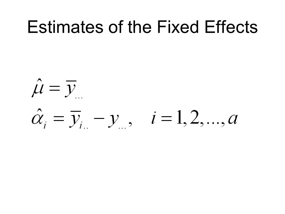 Estimates of the Fixed Effects