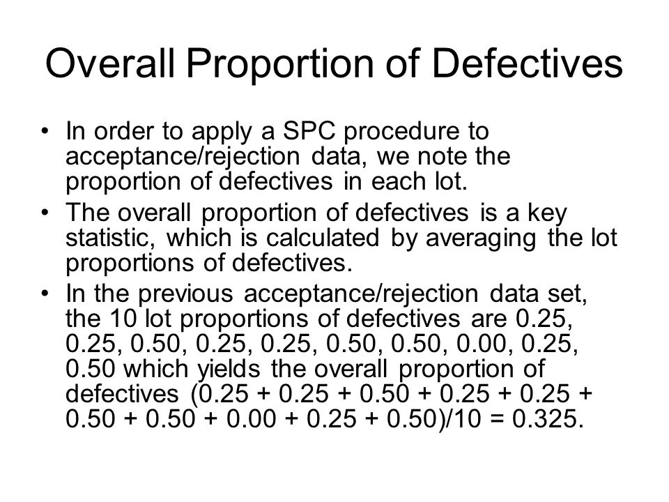 Overall Proportion of Defectives