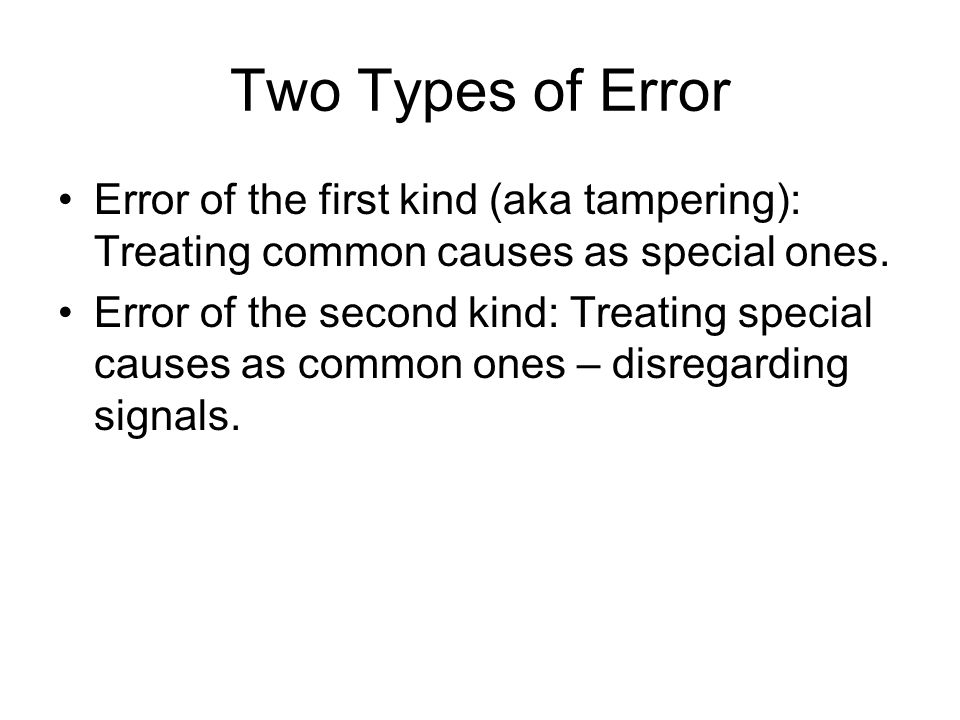 Two Types of Error Error of the first kind (aka tampering): Treating common causes as special ones.
