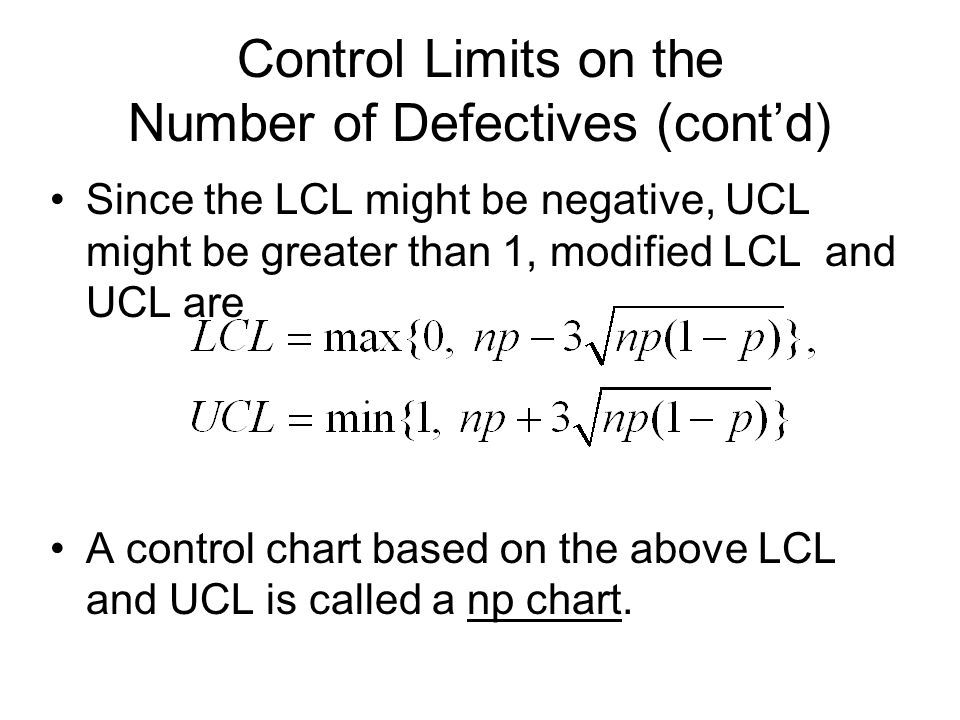 Control Limits on the Number of Defectives (cont'd)