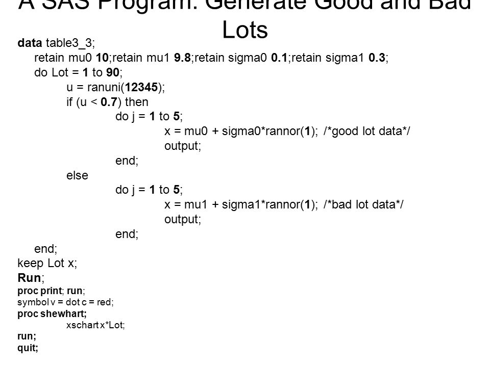 A SAS Program: Generate Good and Bad Lots
