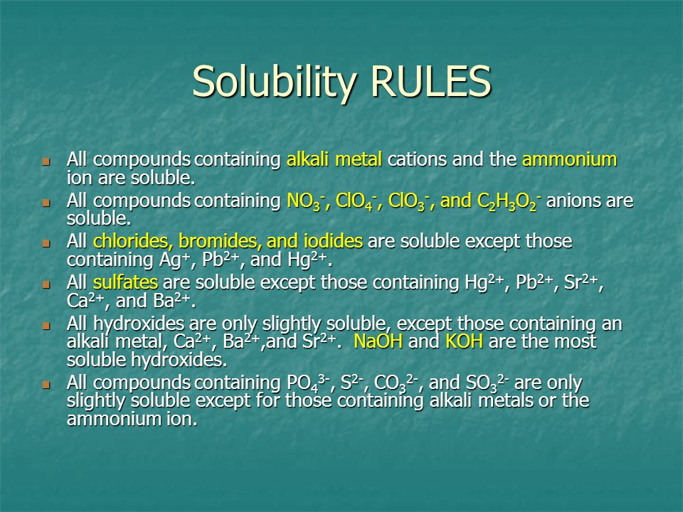 Solubility RULES All compounds containing alkali metal cations and the ammonium ion are soluble.