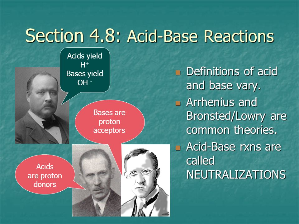 Section 4.8: Acid-Base Reactions