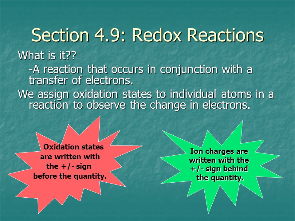 Section 4.9: Redox Reactions