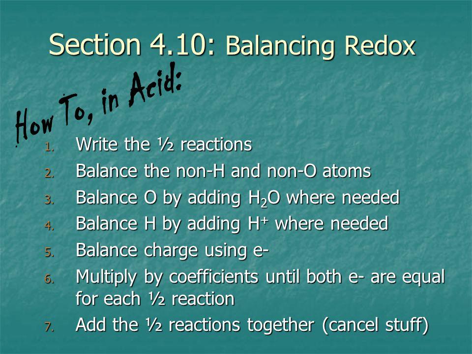 Section 4.10: Balancing Redox