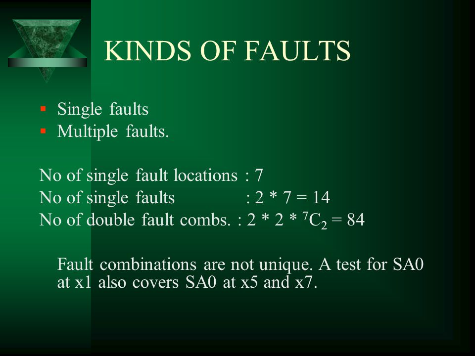 KINDS OF FAULTS Single faults Multiple faults.