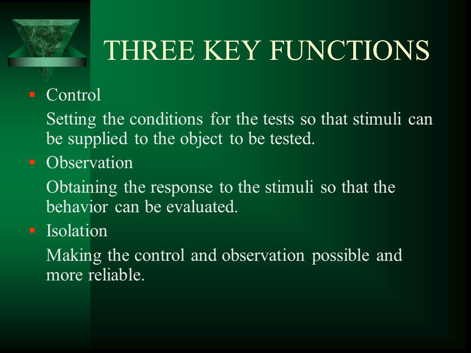 THREE KEY FUNCTIONS Control