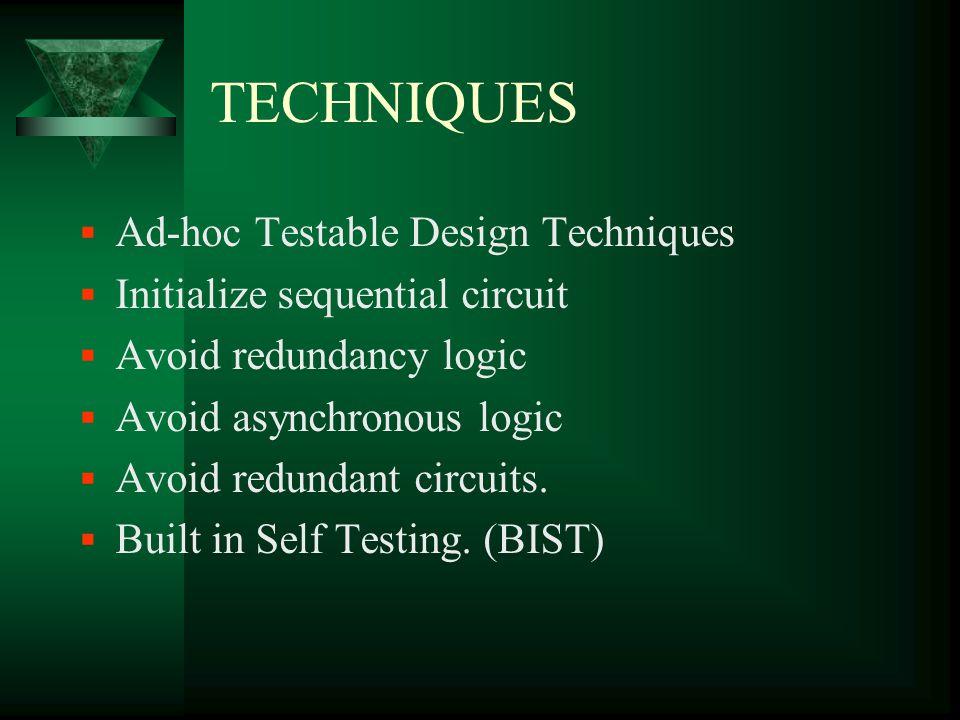 TECHNIQUES Ad-hoc Testable Design Techniques