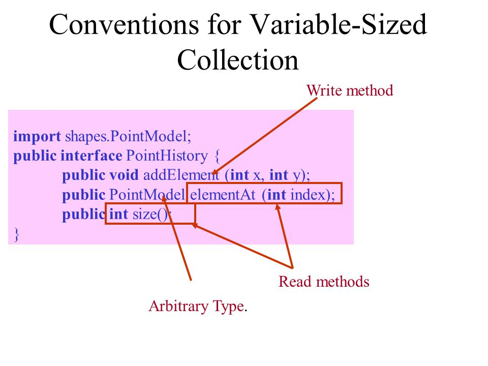 Conventions for Variable-Sized Collection