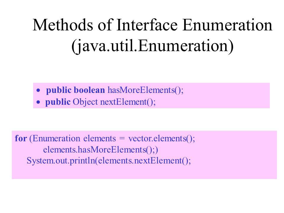 Methods of Interface Enumeration (java.util.Enumeration)