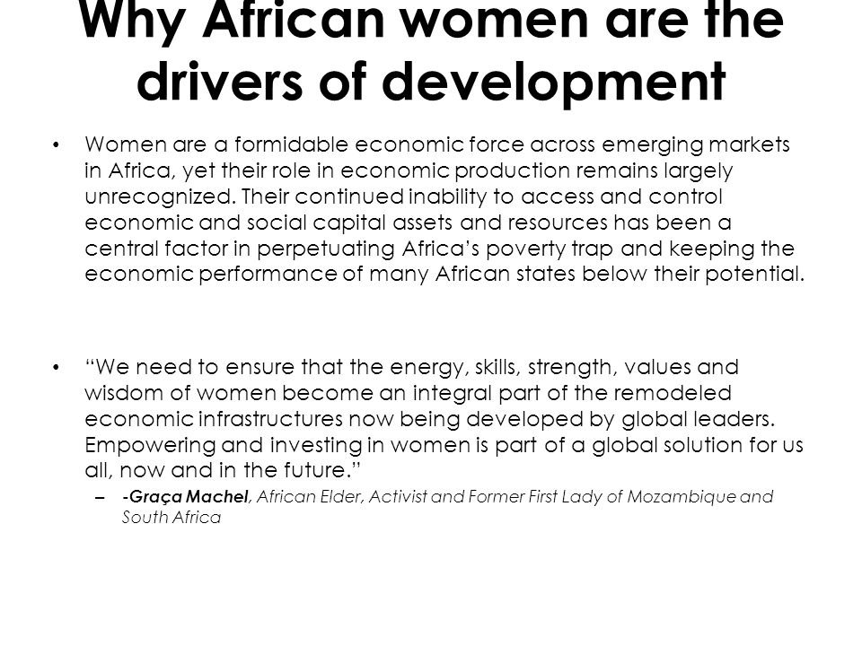 Why African women are the drivers of development