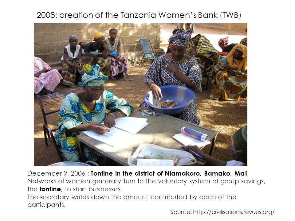 2008: creation of the Tanzania Women's Bank (TWB)