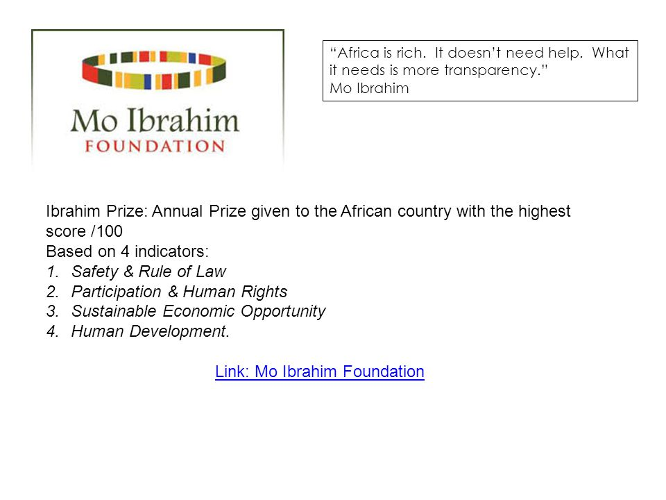 Link: Mo Ibrahim Foundation