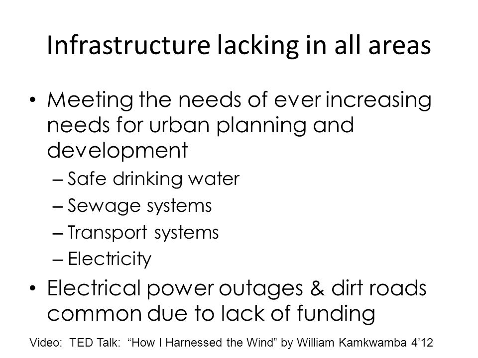 Infrastructure lacking in all areas