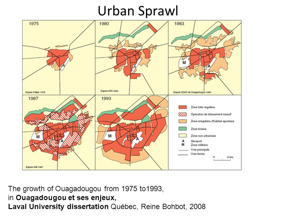 Urban Sprawl The growth of Ouagadougou from 1975 to1993, in Ouagadougou et ses enjeux, Laval University dissertation Québec, Reine Bohbot, 2008.