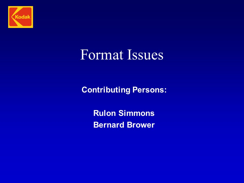 Contributing Persons: Rulon Simmons Bernard Brower