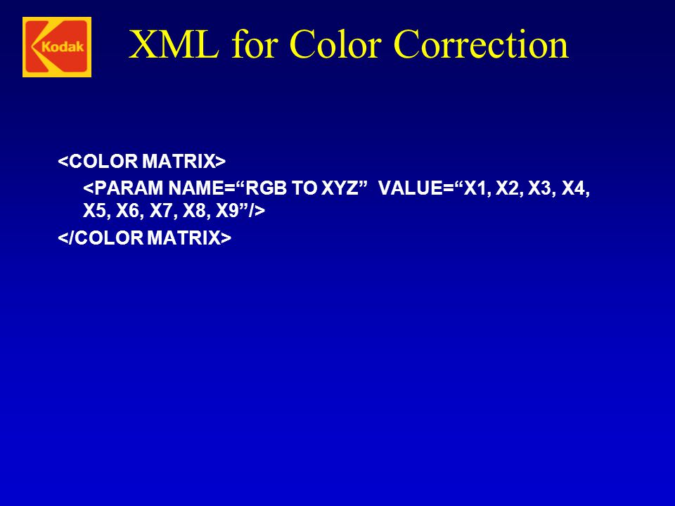 XML for Color Correction