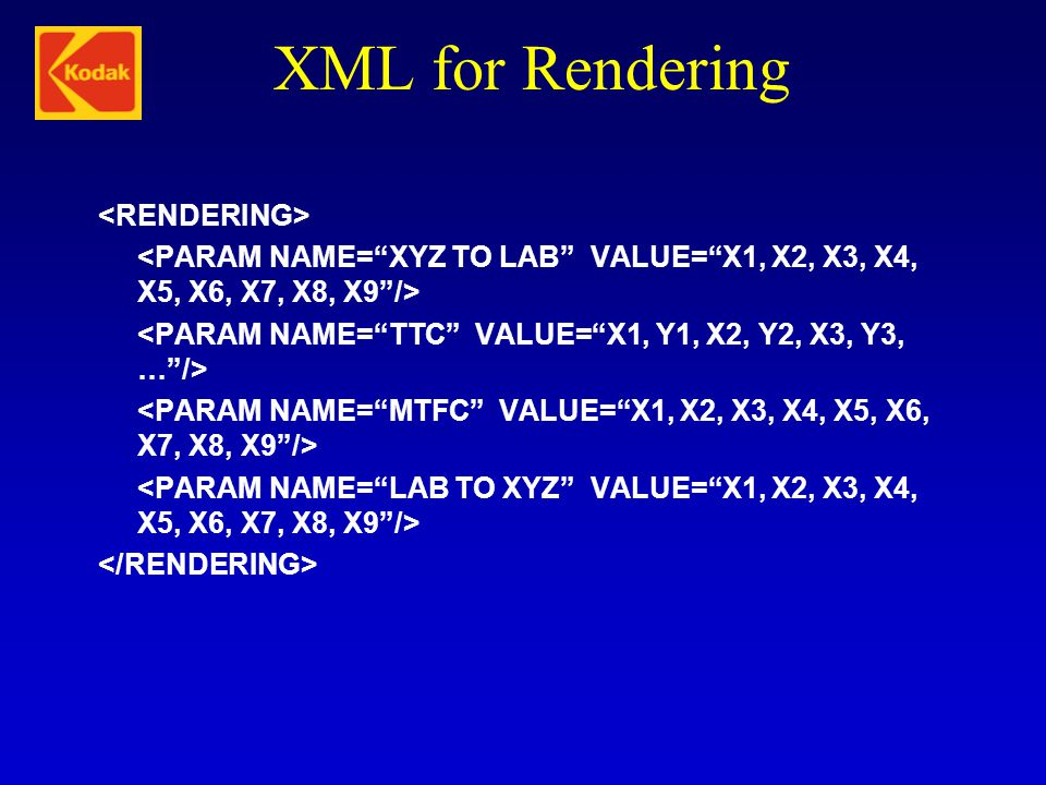 XML for Rendering <RENDERING>