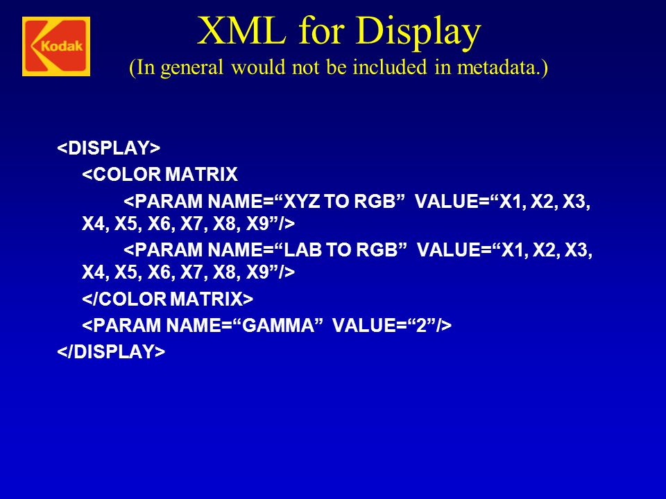 XML for Display (In general would not be included in metadata.)