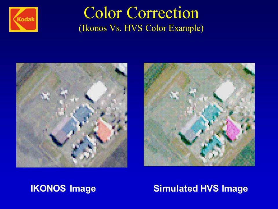 Color Correction (Ikonos Vs. HVS Color Example)