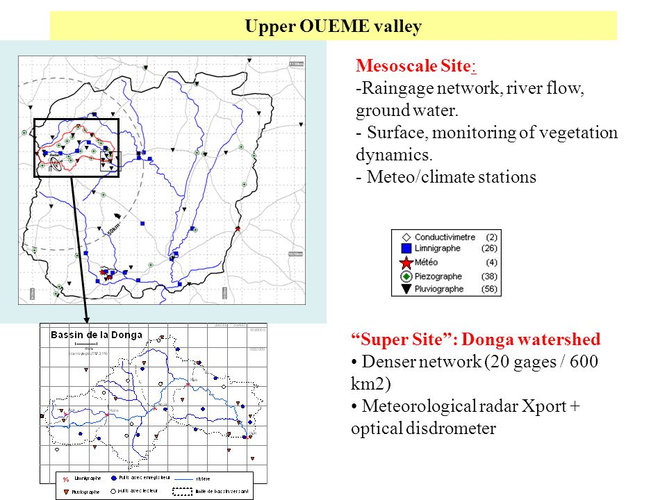 Upper OUEME valley Mesoscale Site: Raingage network, river flow, ground water. Surface, monitoring of vegetation dynamics.