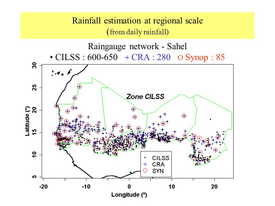 Rainfall estimation at regional scale (from daily rainfall)