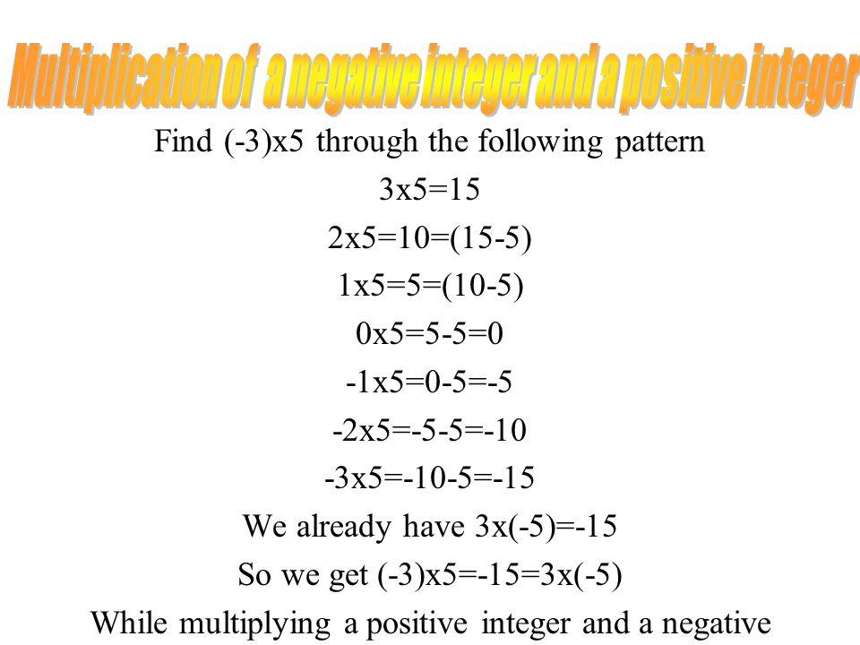 Multiplication of a negative integer and a positive integer