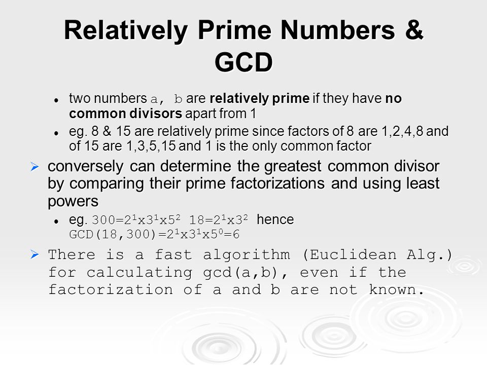 Relatively Prime Numbers & GCD