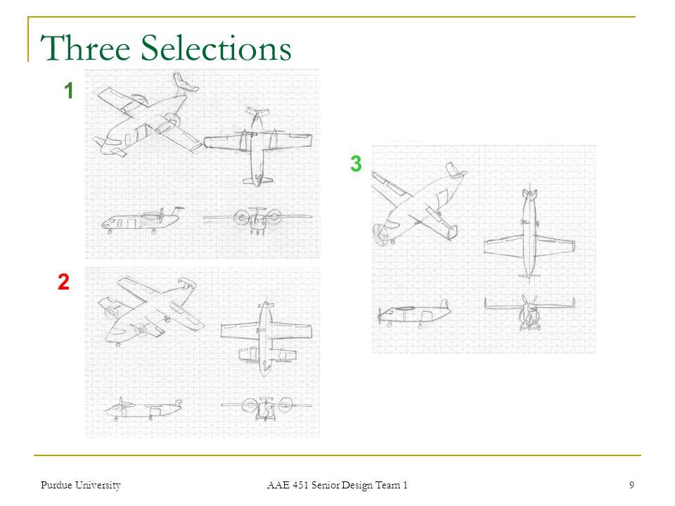 Three Selections 1 3 2 Purdue University AAE 451 Senior Design Team 1