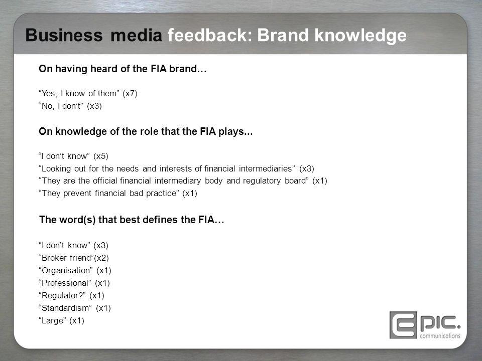 Business media feedback: Brand knowledge