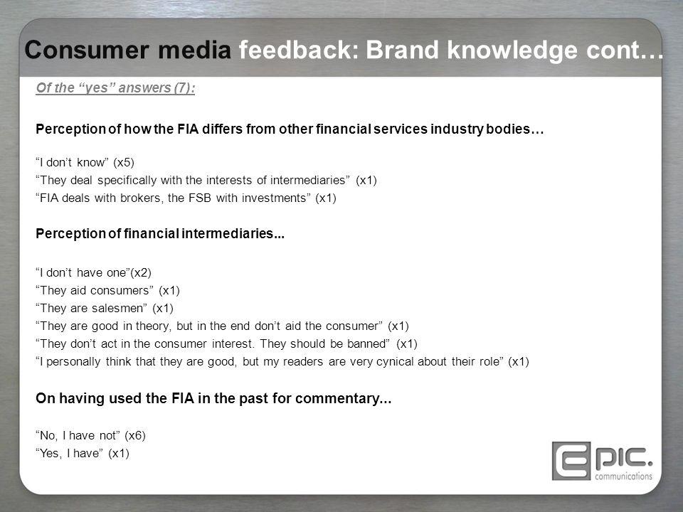 Consumer media feedback: Brand knowledge cont…