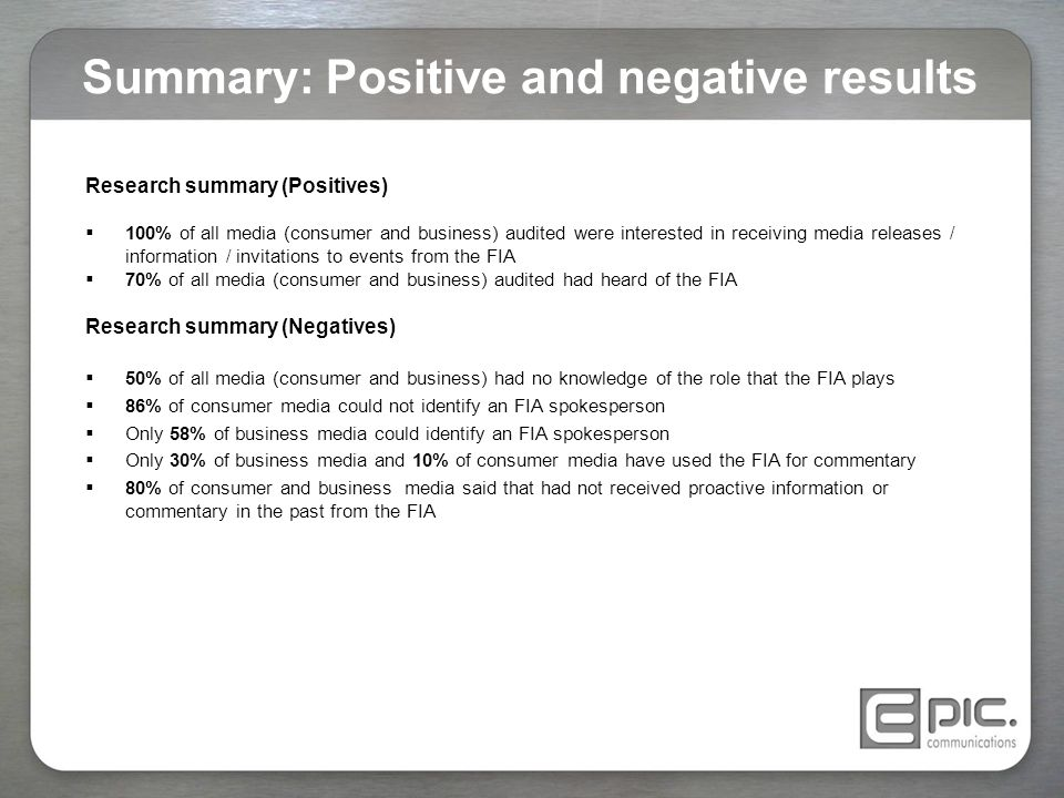 Summary: Positive and negative results