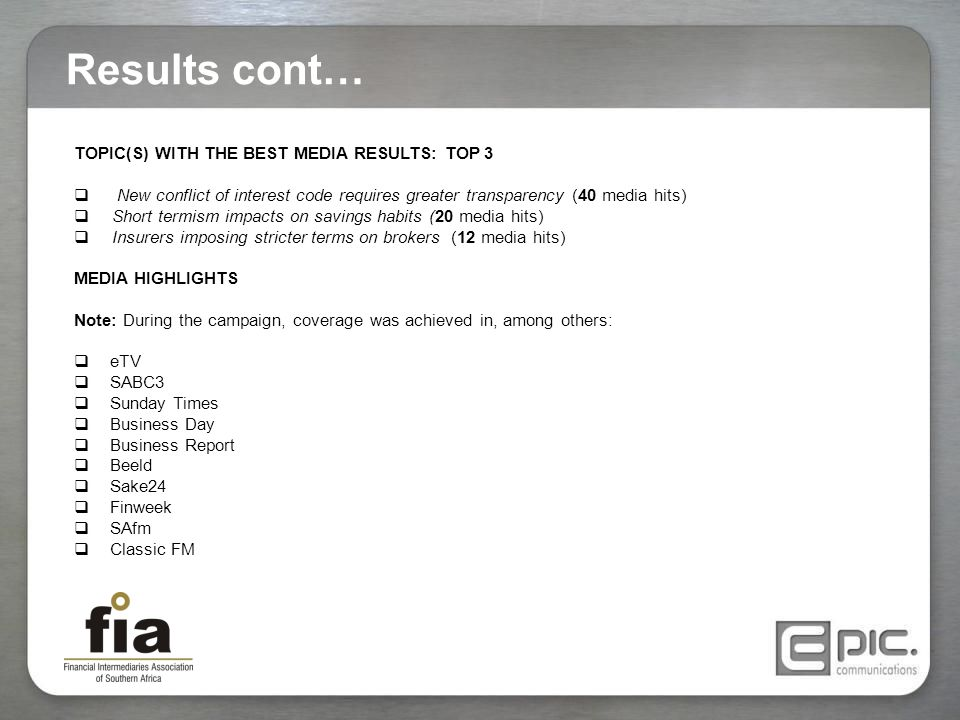 Results cont… TOPIC(S) WITH THE BEST MEDIA RESULTS: TOP 3