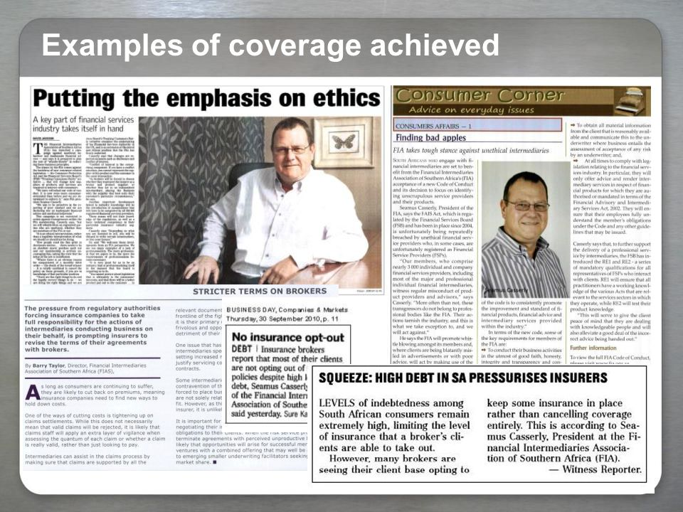 Examples of coverage achieved