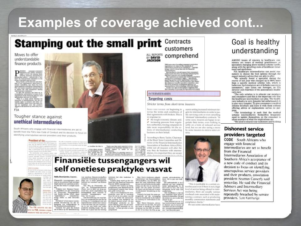 Examples of coverage achieved cont...
