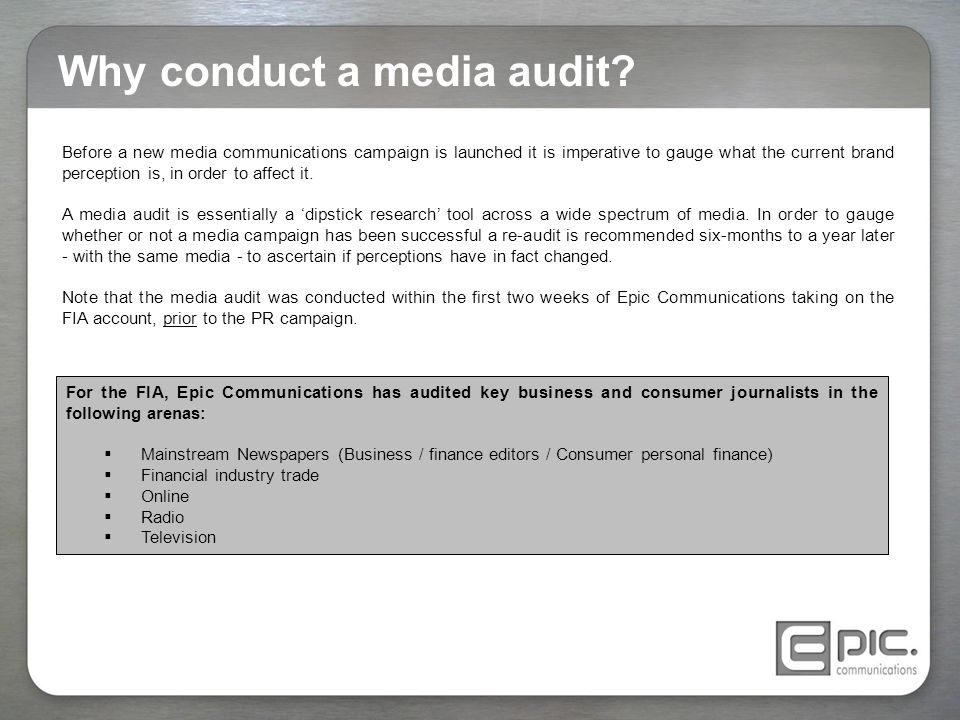 Why conduct a media audit