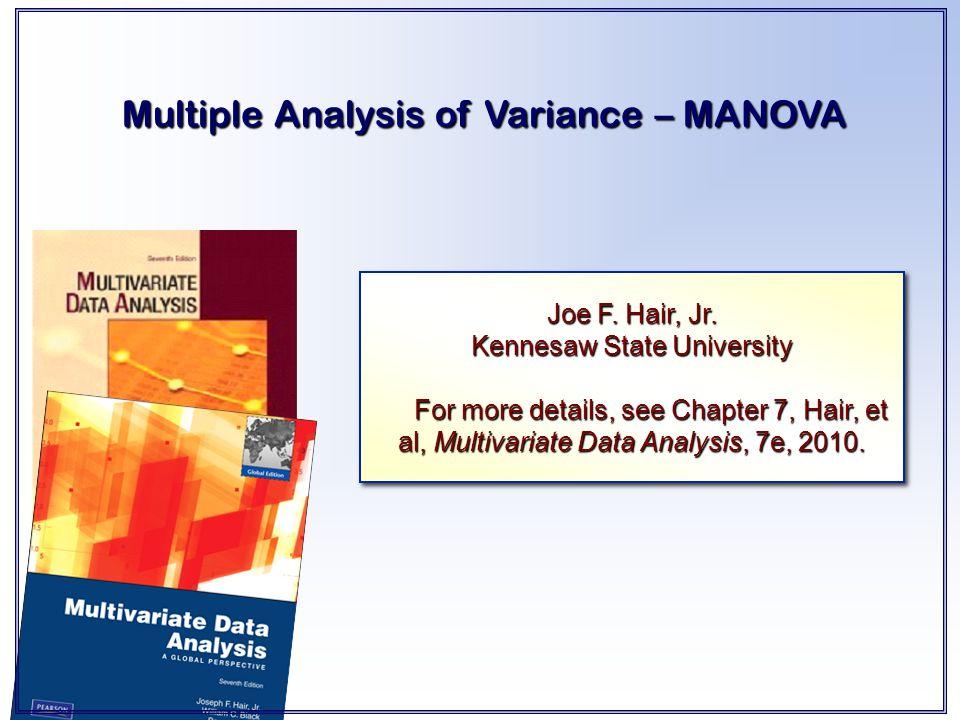 Multiple Analysis of Variance – MANOVA