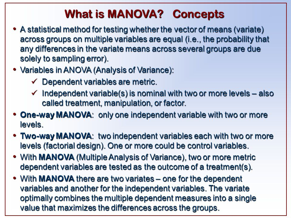 What is MANOVA Concepts