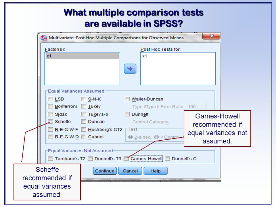 What multiple comparison tests are available in SPSS