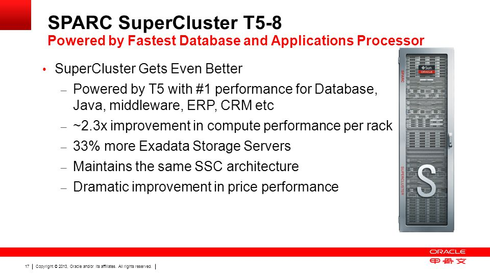 SPARC SuperCluster T5-8 Powered by Fastest Database and Applications Processor