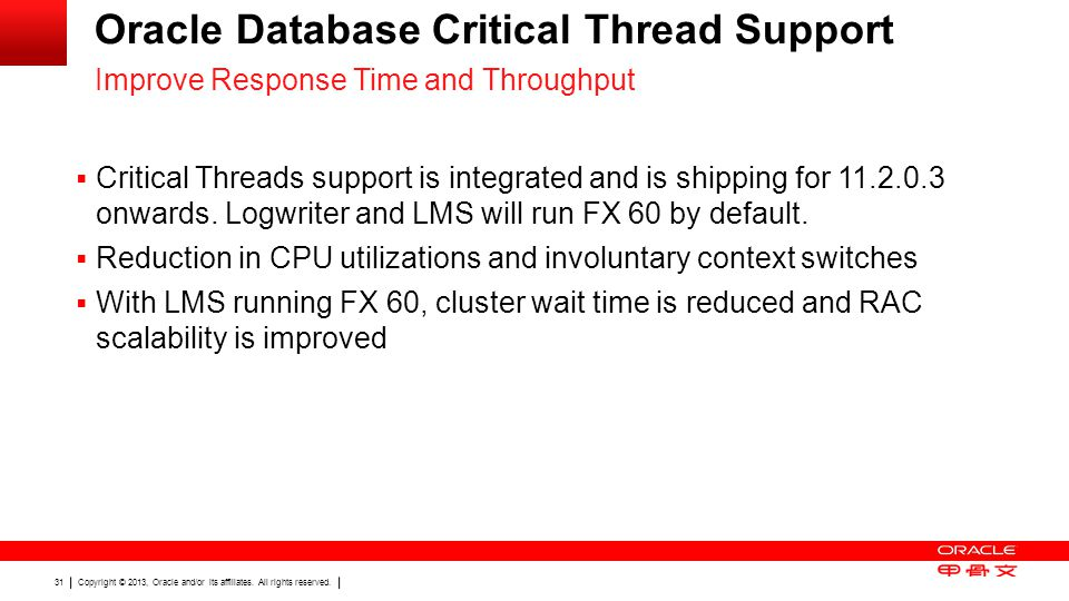 Oracle Database Critical Thread Support
