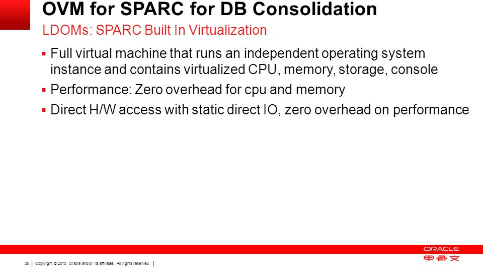 OVM for SPARC for DB Consolidation