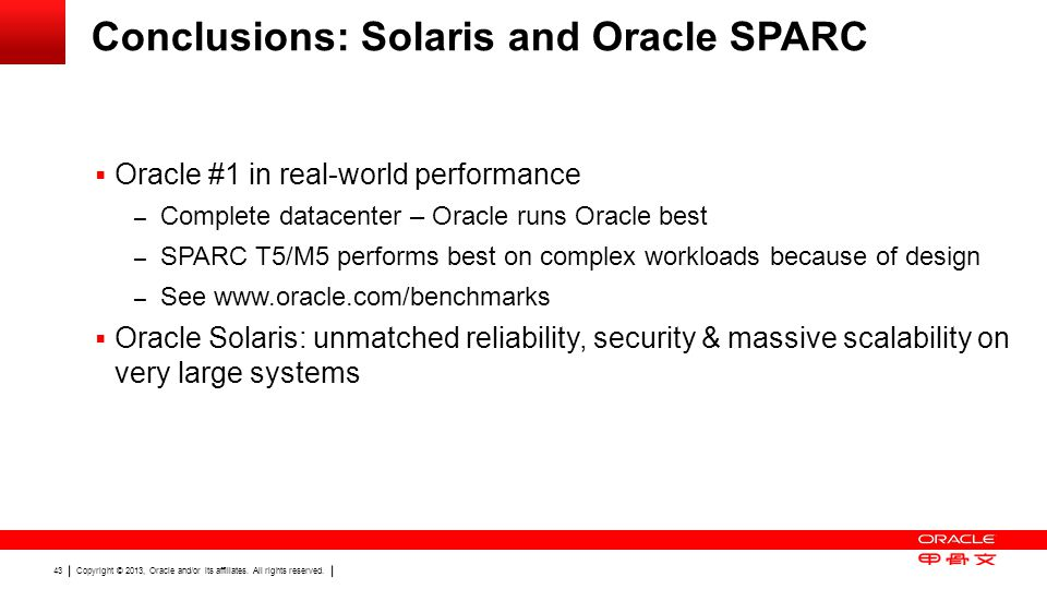 Conclusions: Solaris and Oracle SPARC