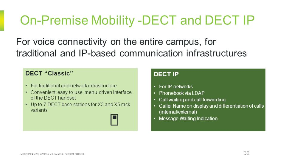 On-Premise Mobility -DECT and DECT IP