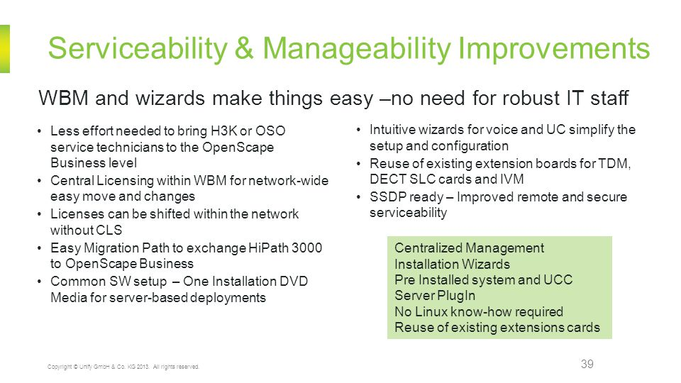 Serviceability & Manageability Improvements