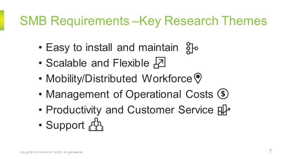 SMB Requirements –Key Research Themes