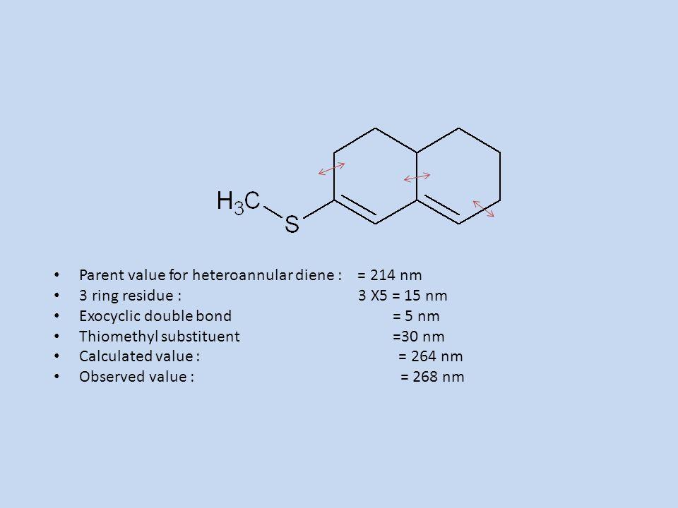 Parent value for heteroannular diene : = 214 nm