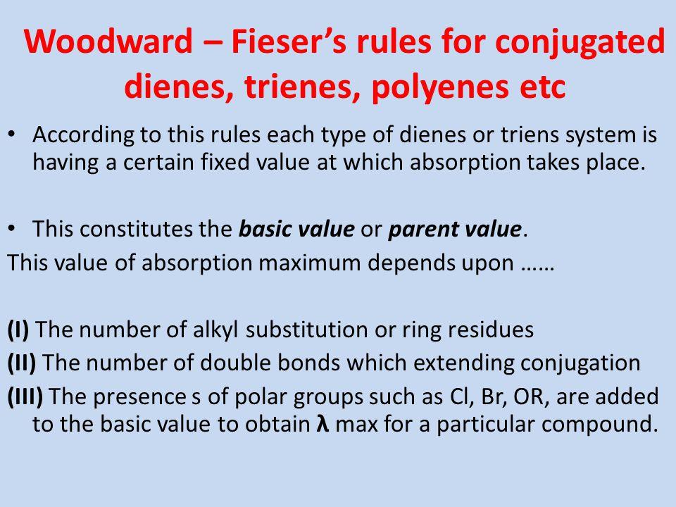 Woodward – Fieser's rules for conjugated dienes, trienes, polyenes etc