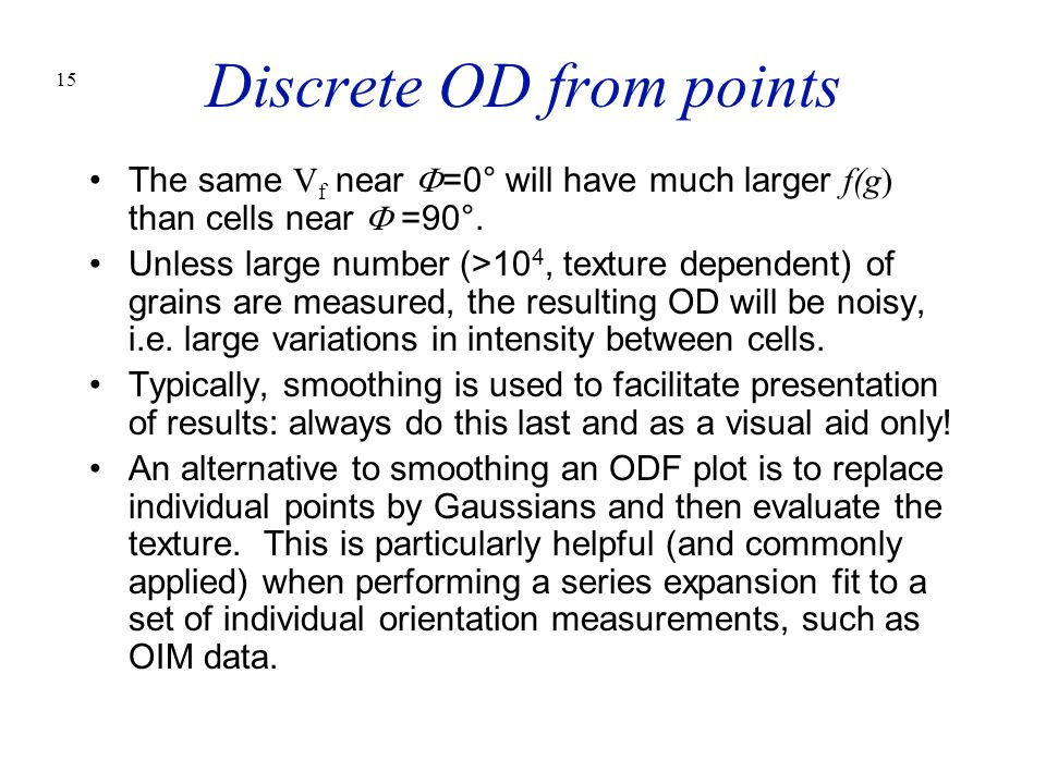 Discrete OD from points