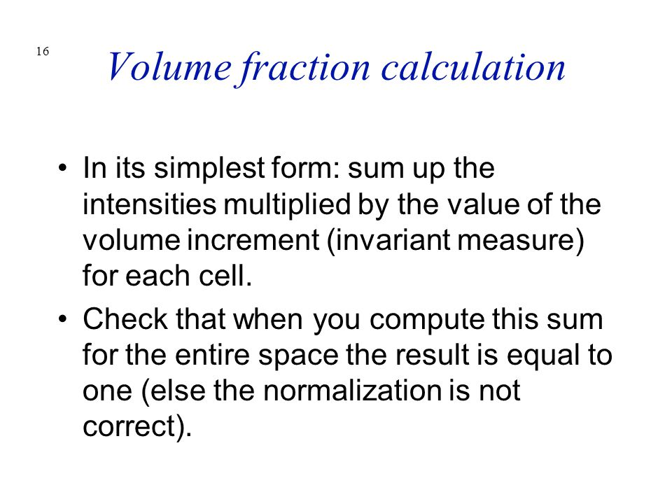 Volume fraction calculation
